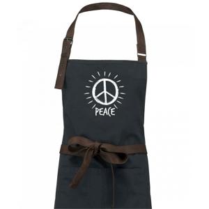 Peace symbol černobílý - Zástěra Vintage