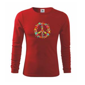 Peace symbol červené květiny - Triko dětské Long Sleeve