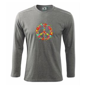 Peace symbol červené květiny - Triko s dlouhým rukávem Long Sleeve