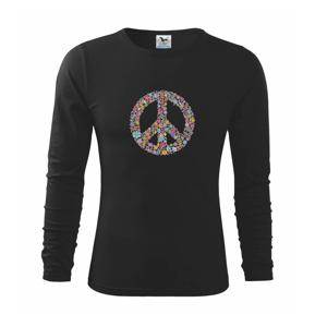 Peace symbol lístečky - Triko dětské Long Sleeve