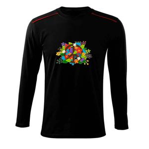 Peace symbol prorostlý květinami - Triko s dlouhým rukávem Long Sleeve