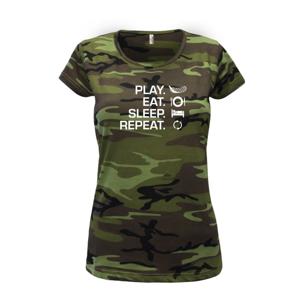 Play Eat Sleep Repeat florbal - Dámské maskáčové triko