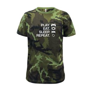 Play Eat Sleep Repeat game - Dětské maskáčové triko
