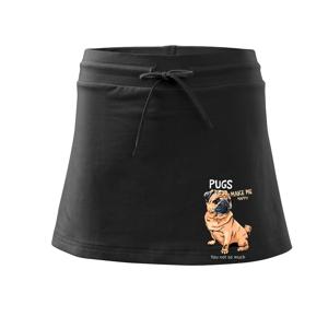 Pugs make me happy - Sportovní sukně - two in one