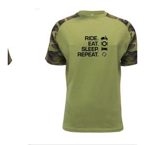 Ride Eat Sleep Repeat moto skútr - Raglan Military