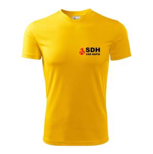 SDH nápis (oheň, název sboru - vlastní nápis) - Pánské triko Fantasy sportovní (dresovina)