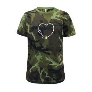 Stetoskop srdce - Dětské maskáčové triko