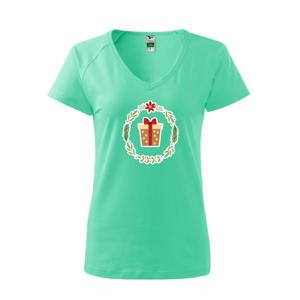 Vánoční věnec s dárkem - Tričko dámské Dream