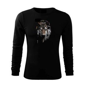 Vlk indián se sluchátky - Triko s dlouhým rukávem FIT-T long sleeve