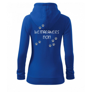 Weimaraners mom (Výmarský ohař)  (Reflexní tlapky) - Dámská mikina trendy zippeer s kapucí