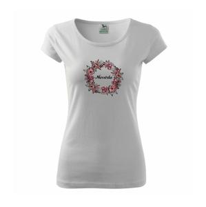Ženích a nevěsta - květinový věneček (Pecka design) - Pure dámské triko
